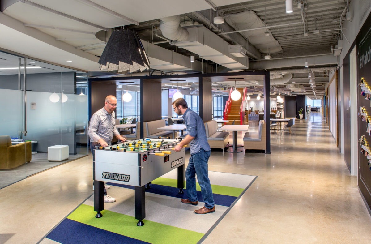 Match.com headquarters in Dallas foosball table open office