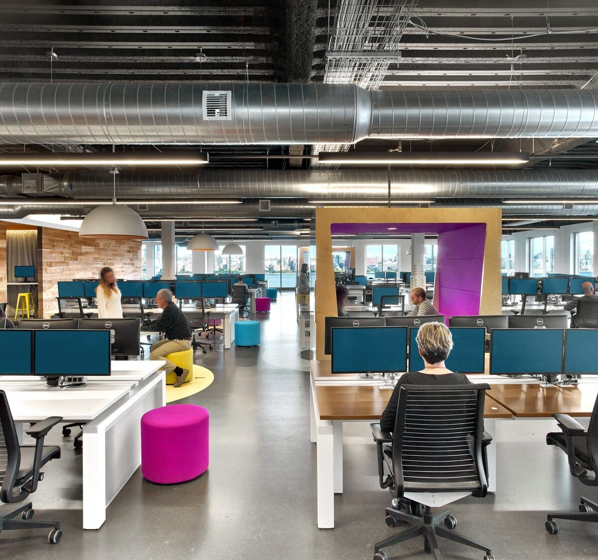 jet.com hoboken new jersey office open plan office with bright purple colors
