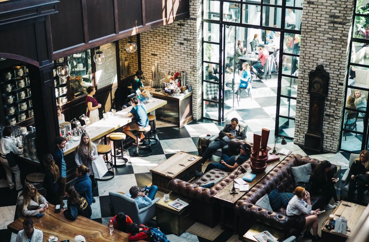 overhead shot of busy coffee shop