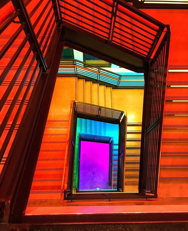 buzzfeed new york office colorful staircase