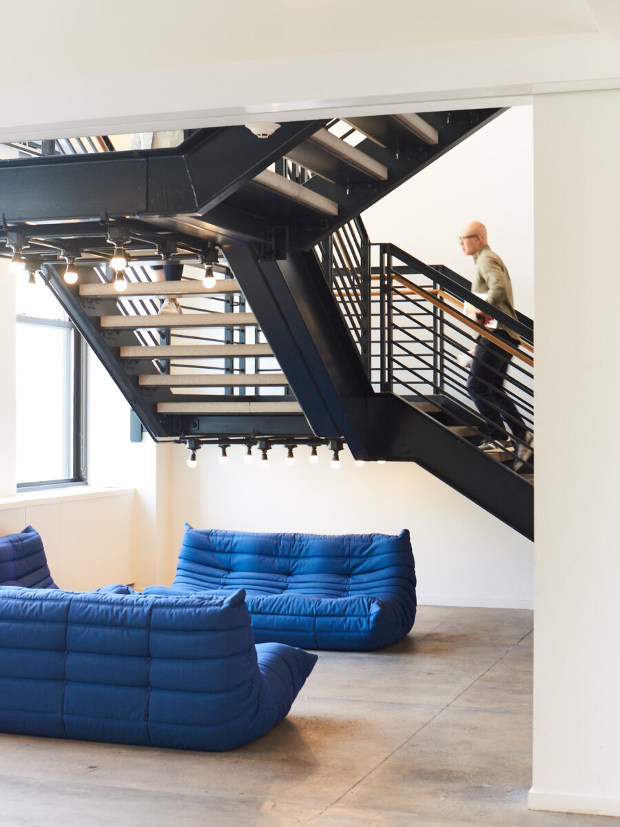 buzzfeed new york office prefabricated staircase connecting multiple floors