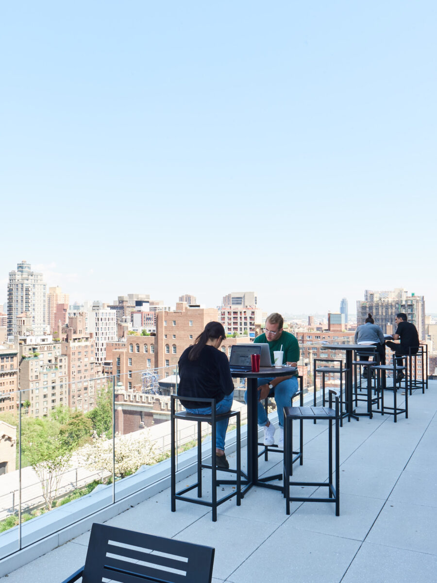 buzzfeed new york office rooftop garden people collaborating