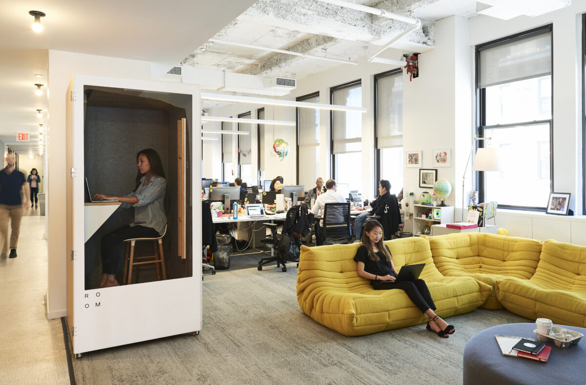 buzzfeed new york office with room soundproof office phone booth for privacy