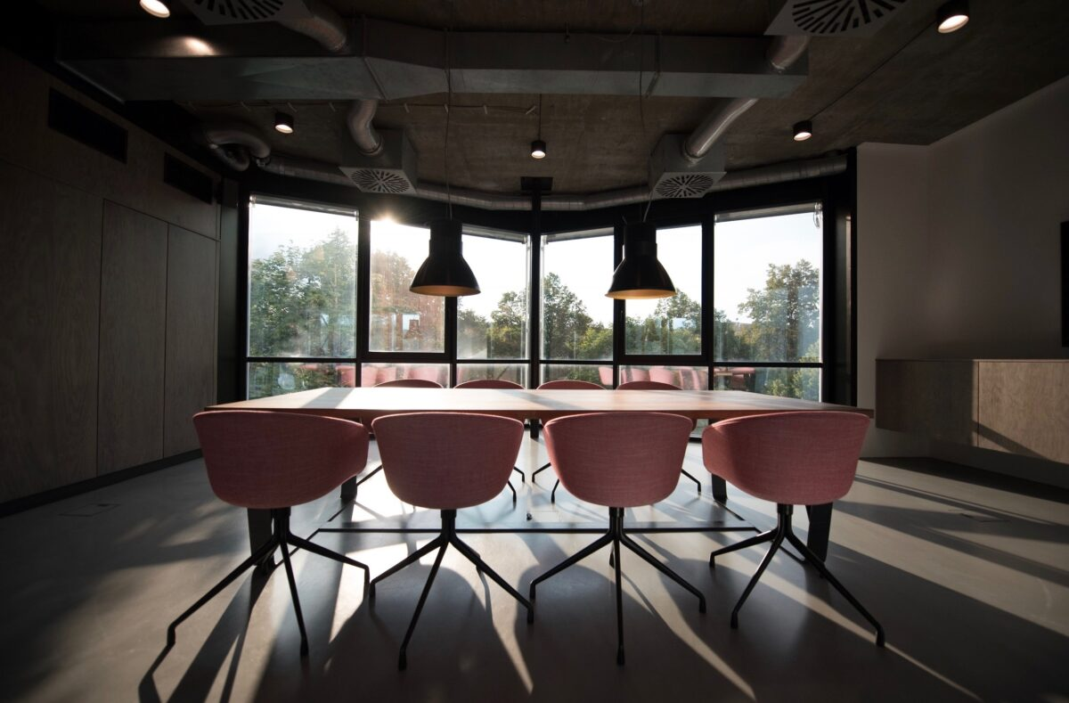 Conference room with pink chairs photo by Nastuh Abootalebi via Unsplash